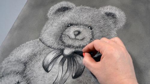 Draw a Cuddly Teddy Bear Using Charcoal and Eraser