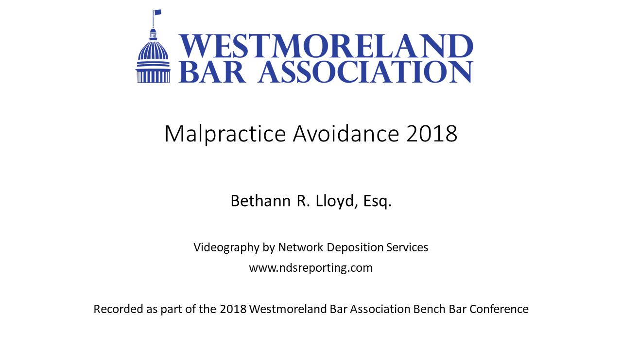 Malpractice Avoidance 2018 (1 PA Ethics CLE)