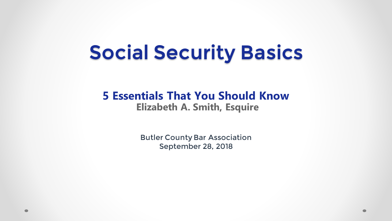 Social Security Basics (1 PA Substantive CLE)