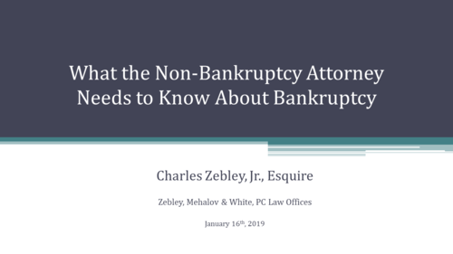 What the Non-Bankruptcy Attorney Needs to Know About Bankruptcy (1 PA Substantive CLE)
