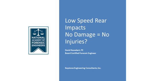 Low Speed Rear Impacts (1 PA Substantive CLE Credit)