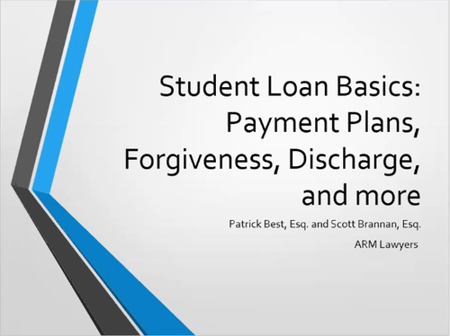 Student Loan Basics (1 PA Substantive CLE)