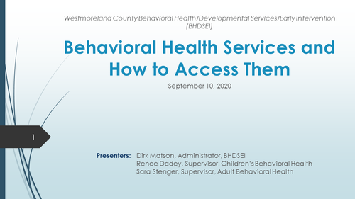 Accessing Behavioral Health Services in Westmoreland County (1 PA Substantive CLE)