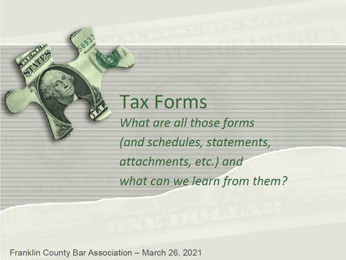 Tax Forms: What Can We Learn? (1 PA Substantive CLE)