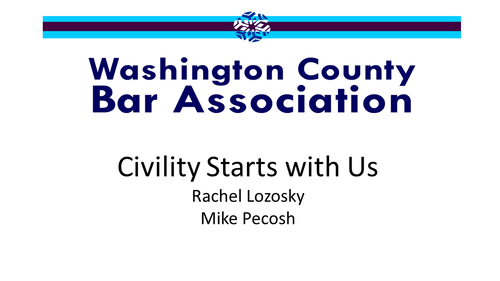 Civility Starts with Us (1 PA Ethics CLE Credit)