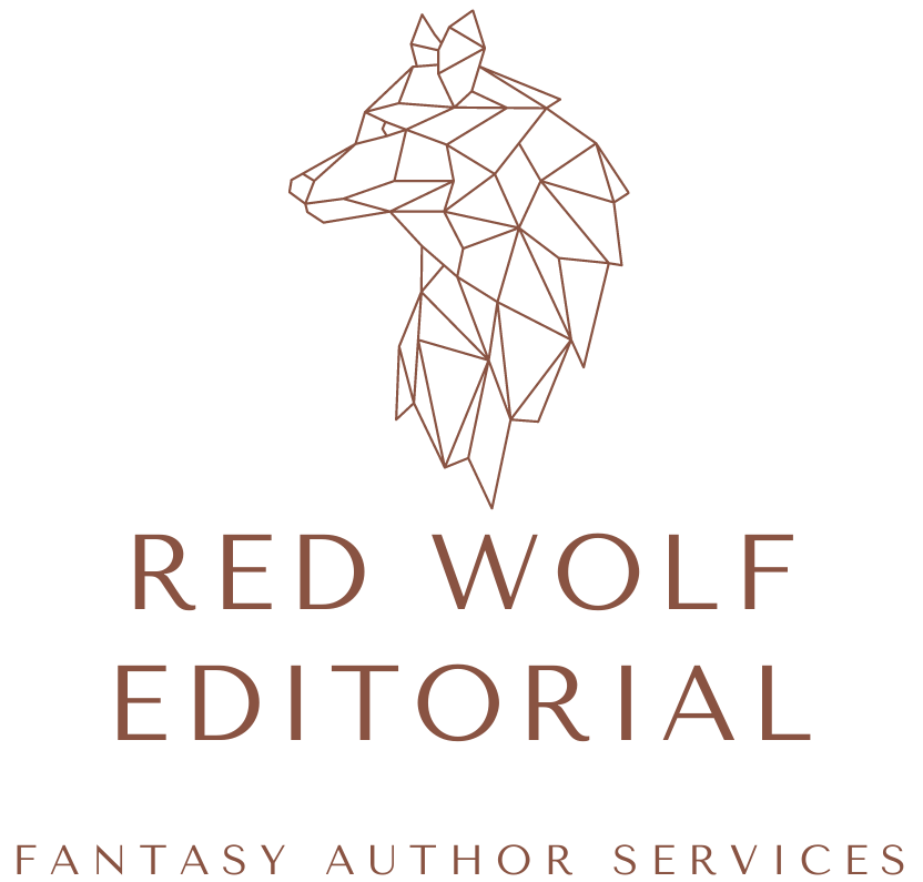 The Red Wolf Editorial logo is a polygonal profile of a wolf. The graphic and the text are a reddish brown color. The subhead reads: Fantasy Author Services.
