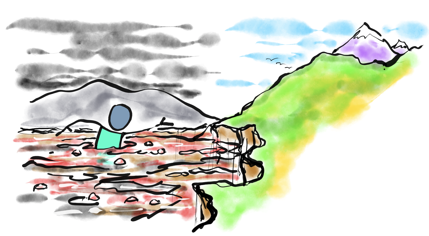 A hand drawn image of a person swimming through polluted, choppy water to get to an island with lush green fields and mountains