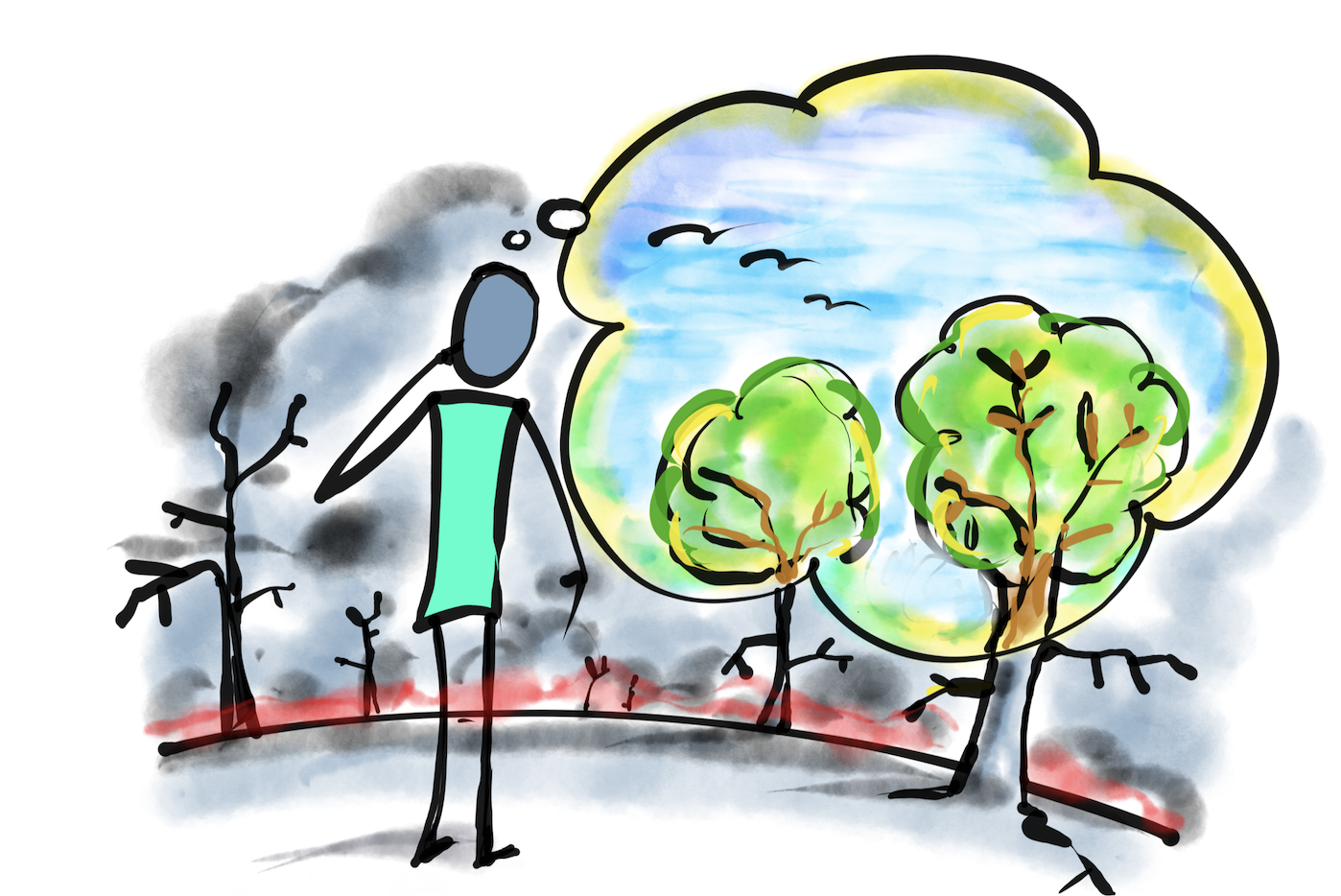 """A hand drawn image of a person staring into a landscape of burnt trees, but their thought cloud visualizes a blue sky and full green trees. The words """"Power of Perception"""" underneath"""