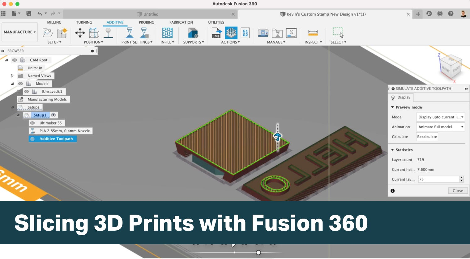 Slicing 3D Prints with Fusion 360 additive tools.