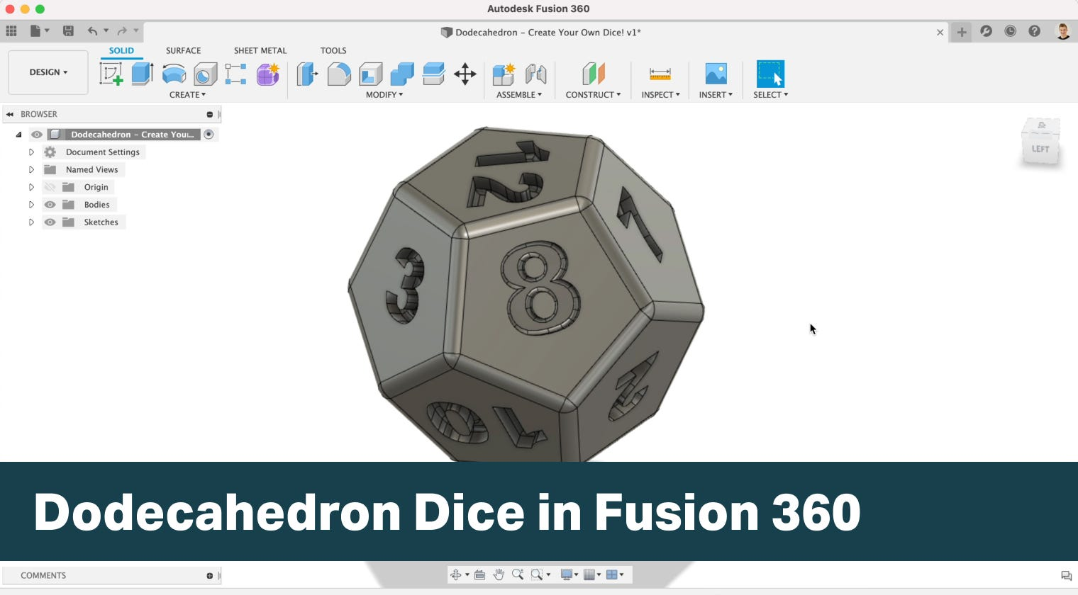 Dodecahedron Dice in Fusion 360 - Surface to Solid Techniques