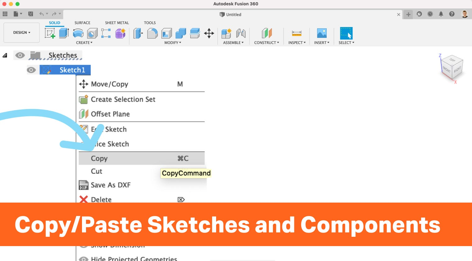 How to Copy and Paste Sketches and Components in Autodesk Fusion 360