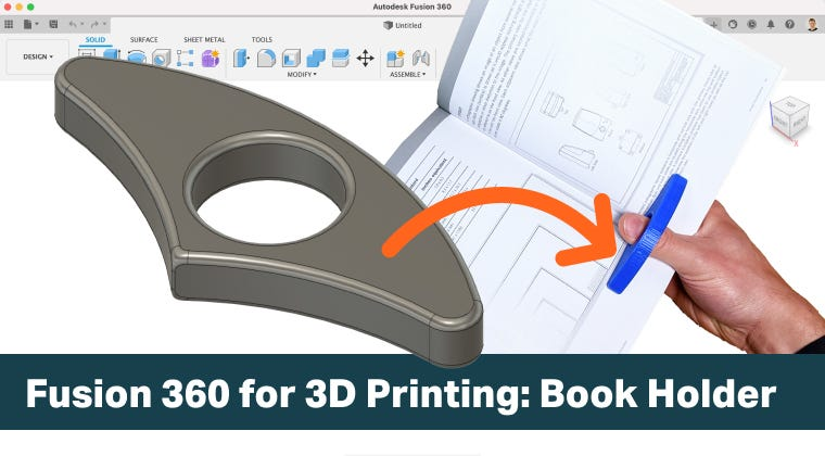 Fusion 360 Design a One-Hand Book Holder