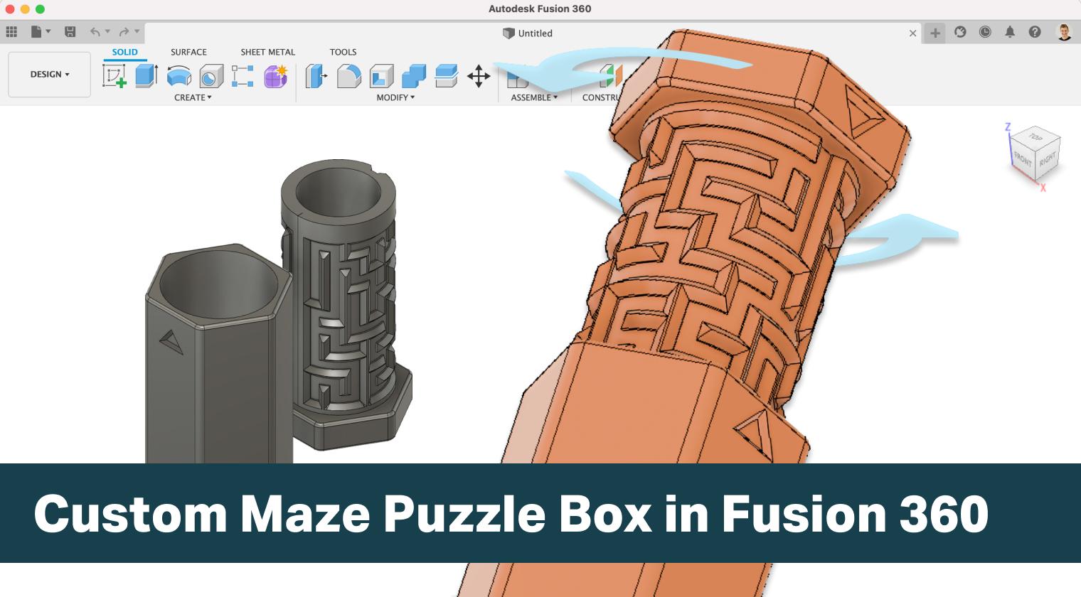 3D Printable Maze Puzzle Box in Fusion 360