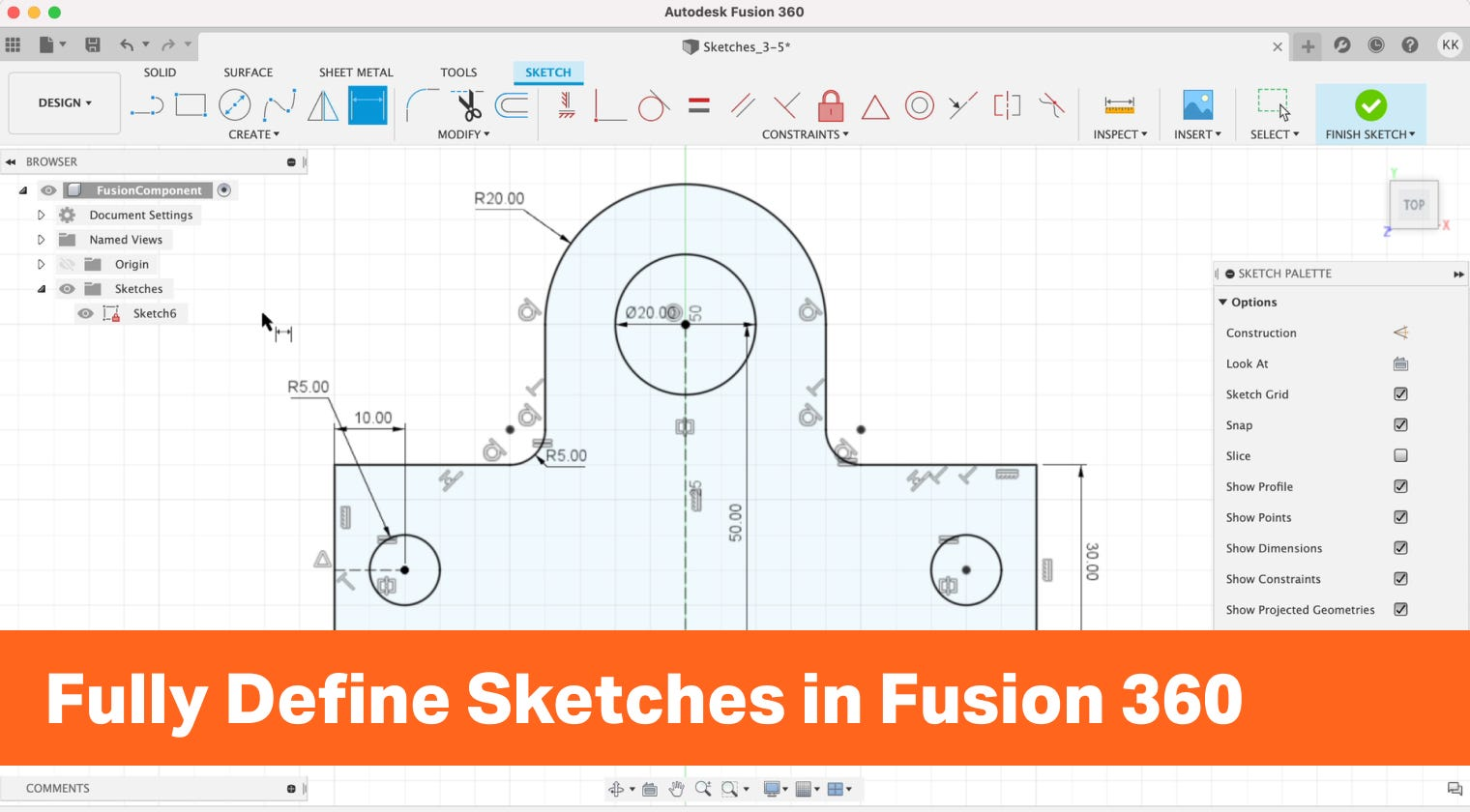 Fully Define Sketches in Fusion 360