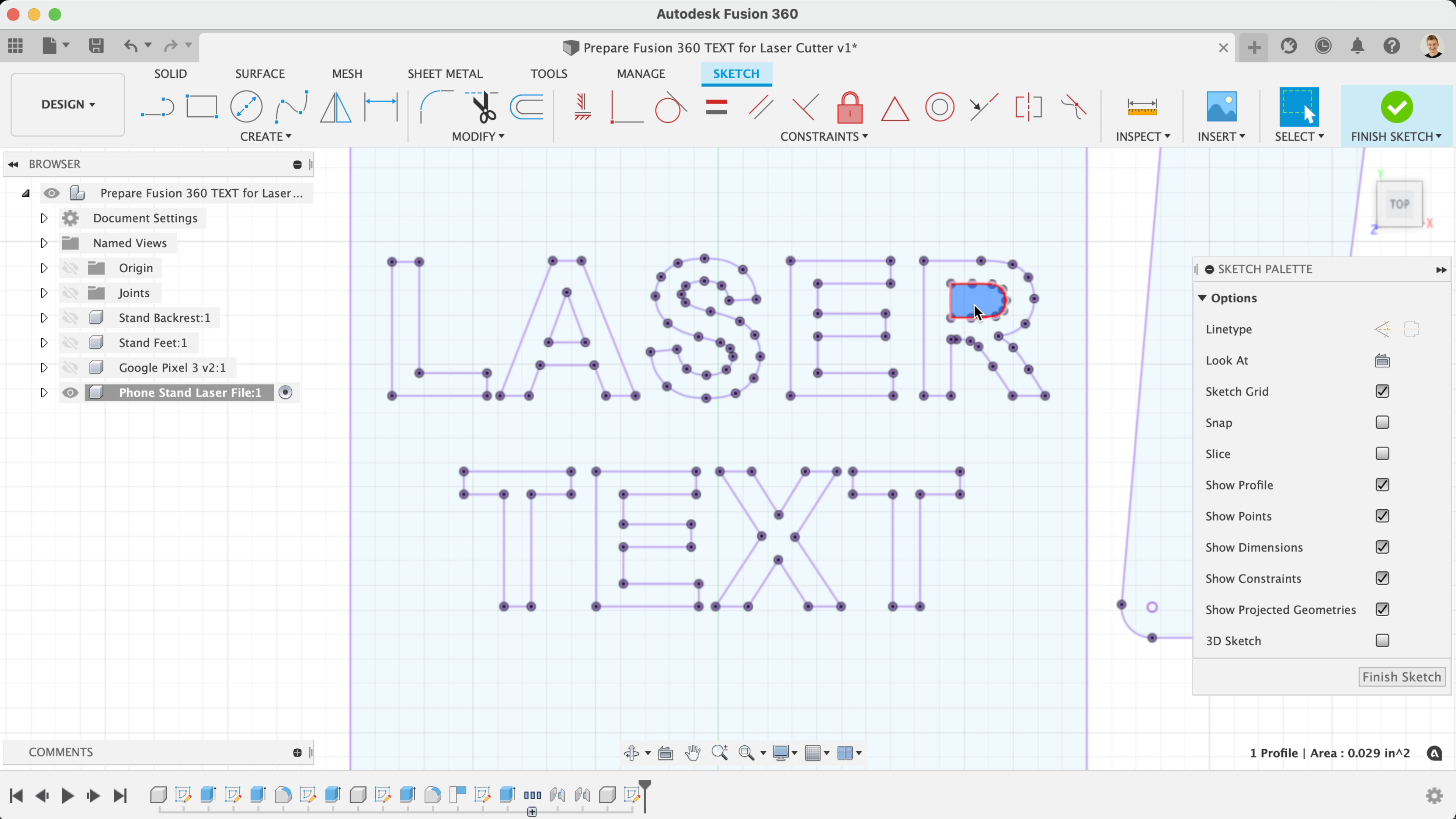 Laser Cut text from Autodesk Fusion 360