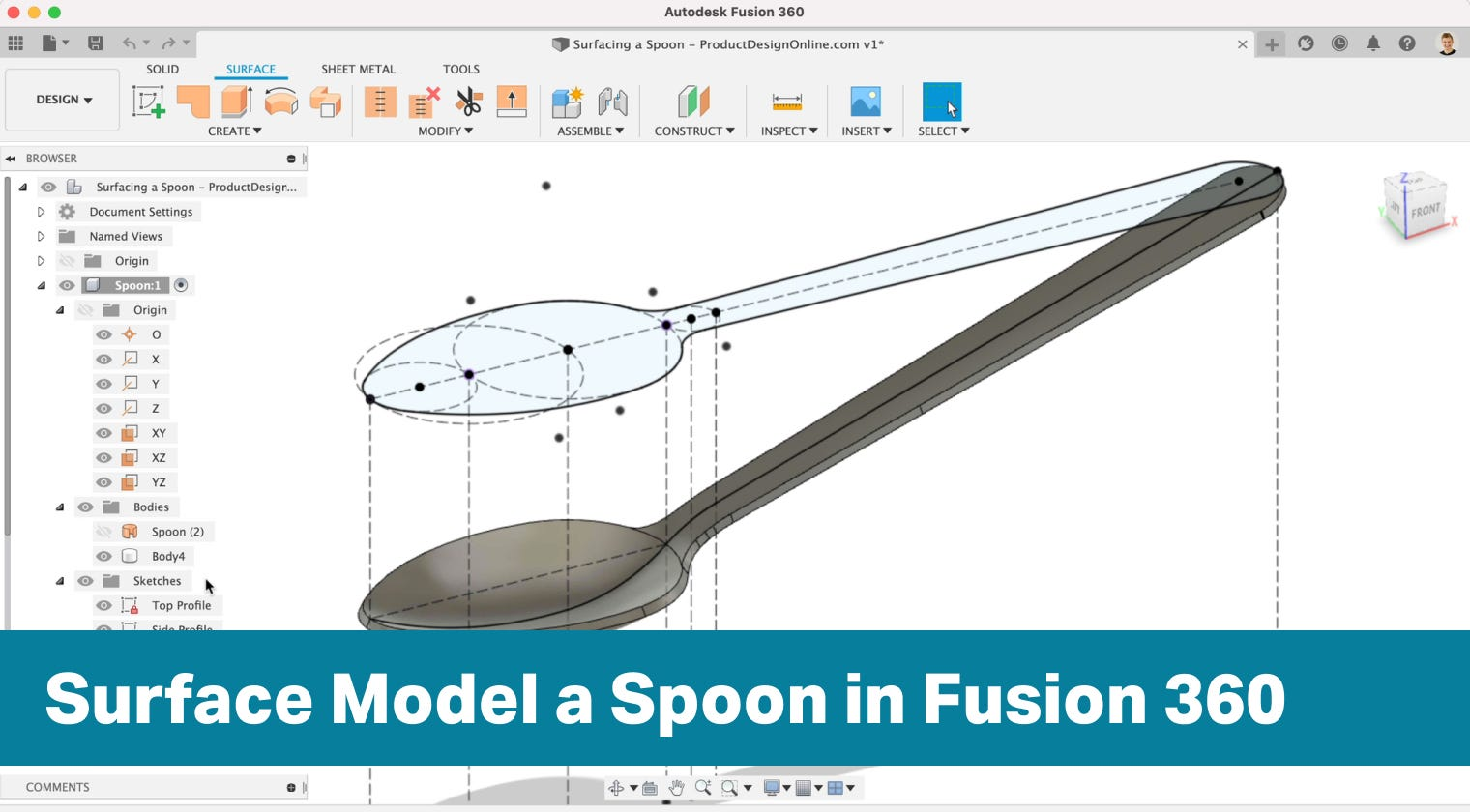 How to surface model in Fusion 360
