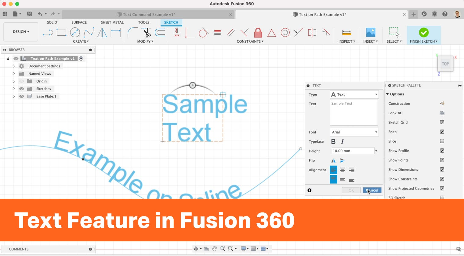 Text Feature in Fusion 360