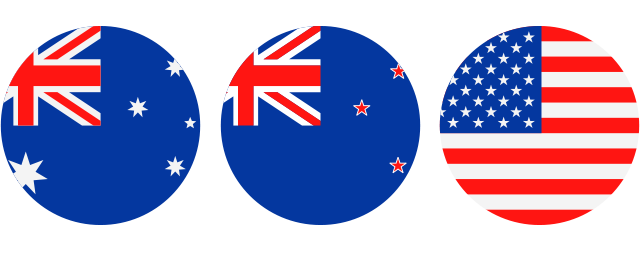 Flags of Australia, New Zealand and United States.